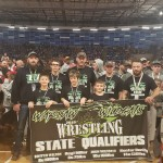 WARSAW YOUTH WRESTLERS and coaches went to state at Kemper Arena in Kansas City on March 8-10. Pictured on  front row are Bostyn Wilson, John Wilson and Hoyt Miller. Back row-Joey Muldoon coach, Hunter Dority,  John Wilson, coach, Cody Phillips, coach, and Brian Phillips, coach. Congratulations!