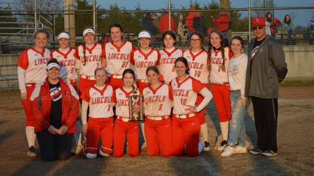 THE LINCOLN LADY CARDINALS beat Sacred Heart 10-3 on Saturday at home to win the Kaysinger Conference tournament championship. Front row: Coach DeHaan, Jordan Young, Alexis Harms, Cadyn Paxton, Haley Ebeling. Back row: Allie Keuper, Jenna Vandaveer, Gracyn Eifert, Courtney Stephens, Lexi Dulaban, Alex Hansen, Kendall Bartley, Audrey Campbell, Ava Armenta and Coach Sanders. Not pictured were Olivia Breshears, Lacie Wiggins, Hailey Wolfe, Abby White and Taylor Bays.