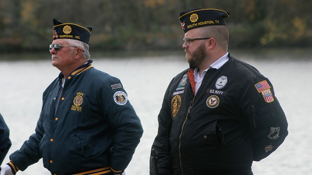 HONORING VETERANS PAST AND PRESENT,  the annual Wreathing of the Waters Ceremony was held on Saturday at Drake Harbor. Greg Hatcher and Donald Brunswick took part in the poignant event.