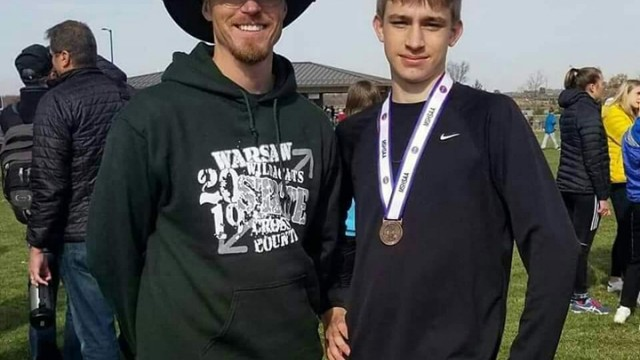 WILDCATS CROSS COUNTRY RUNNER Trey Palmer shows off his All-State medal at last weekend's MSHSAA Class 2 State Cross Country meet held in Columbia.  Palmer placed 22nd out of 173 runners with a time of 16:54.80.