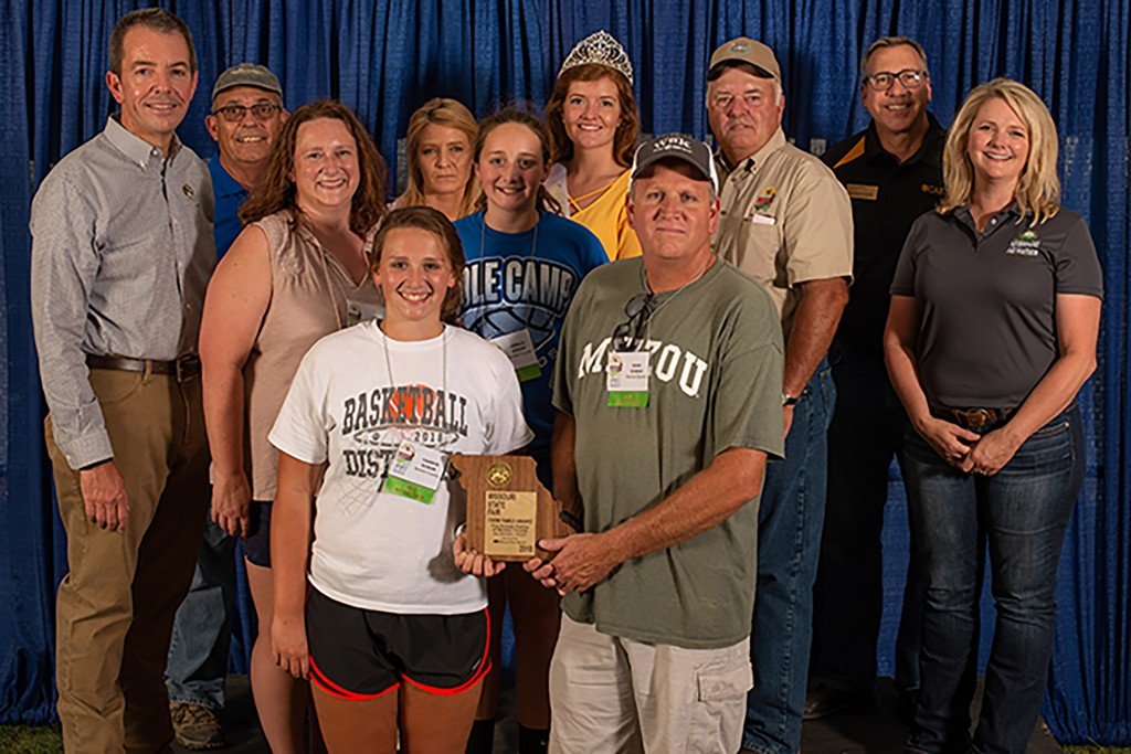 THE SCHEAR FAMILY was selected as the Benton County Missouri Farm Family. Dean, Lynn ,Camryn and Camille Schear.