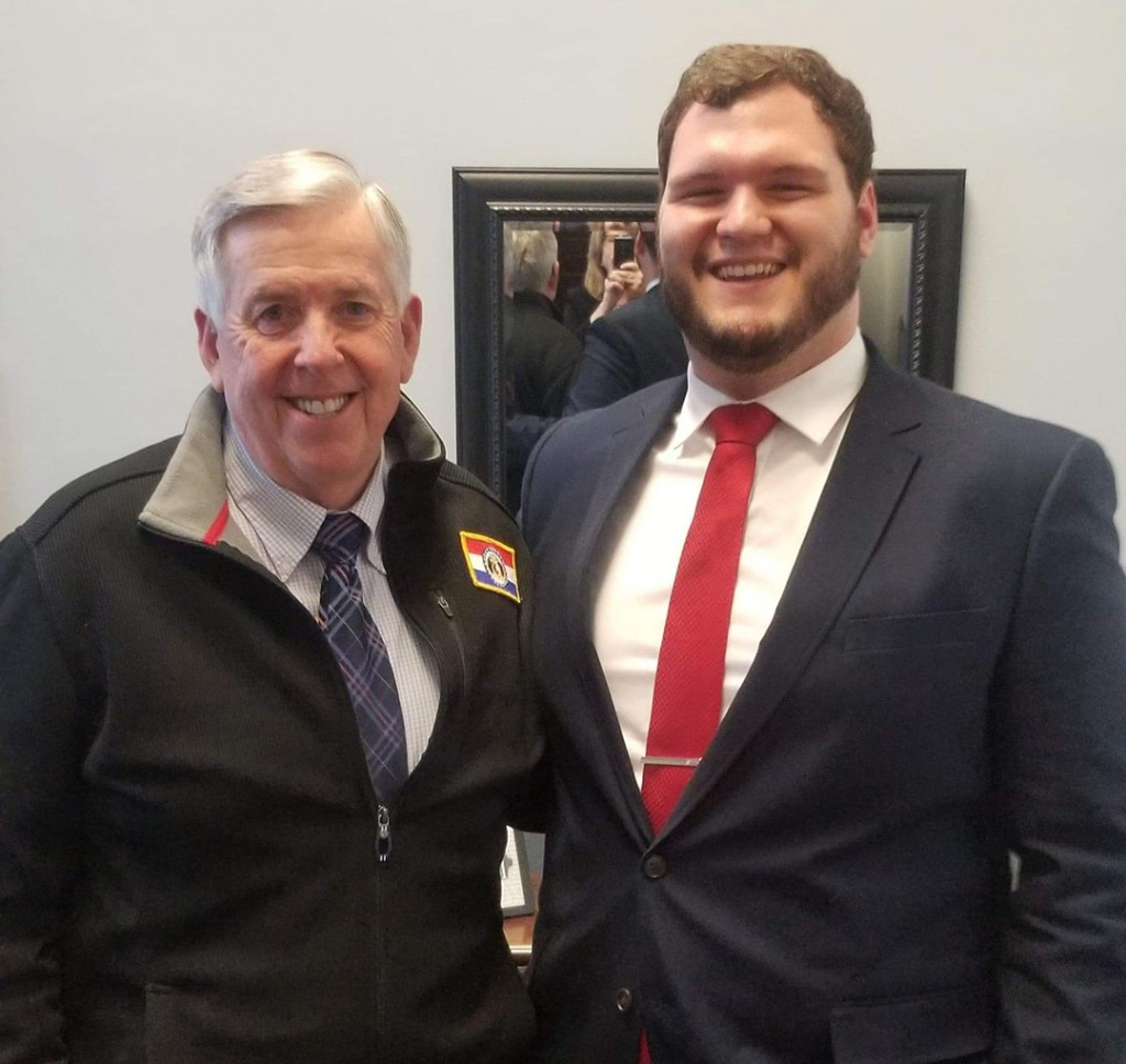 ENTERING THE POLITICAL ARENA, Blake Brodersen accepted an internship with Missouri Governor Mike Parson's office in Jefferson City. Brodersen is a 2017 graduate of Warsaw High School.