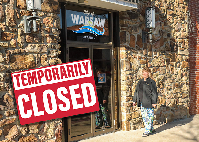 A SINGLE CASE of COVID-19 caused the City of Warsaw to close their headquarters on Main Street until October 21. Sandra Darling walked in front of the now silent facility on Tuesday.
