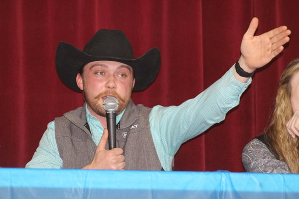 THE COMMUNITY BUILDING set the stage for the FFA's Annual Chili Supper and Auction on Saturday evening. WHS graduate Hunter Bagley served as auctioneer.