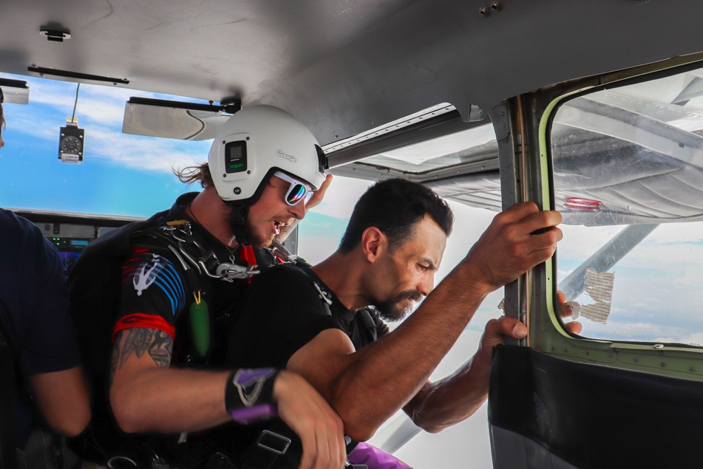 READY FOR AN ADRENALINE  RUSH, Warsaw resident Zebadiah Swearingin and Glidersports Skydiving instructor Chasen McCook prepared for a 10,000 foot jump over Henry County.