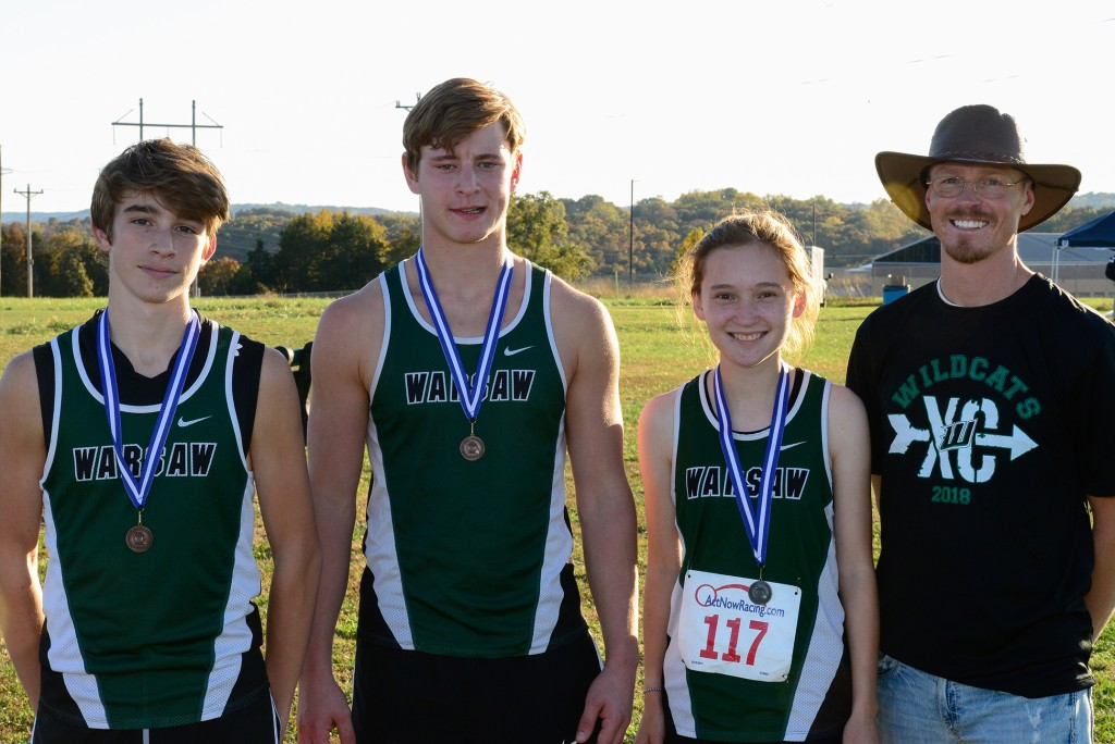 CROSS COUNTY STATE QUALIFIERS Alyssa Alcantara,Trey Palmer, Maleek Porter, and coach Ehren  Banfield. They each bested their personal best times at  districts at Hollister last week.