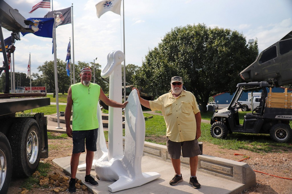 A GIANT ANCHOR with a history has been installed at the American Legion Post 217 Headquarters. Barry White and Rich Guyette were on hand to help move the artifact into place on Friday. A dedication will be scheduled for later this year.