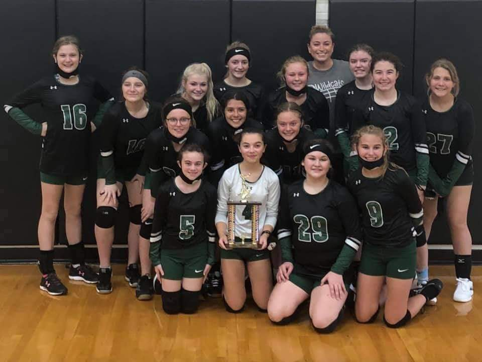 CAPPING THEIR STELLAR SEASON, the JBMS 7th grade volleyball team captured the consolation trophy at Saturday's Warsaw JBMS Volleyball Tournament.  The Lady Cats fell to Russellville; 25-19, 16-25, 13-15 before picking up wins over Clinton, 25-12 and 25-8 and Sedalia, 25-19 and 25-20.  The 7th grade squad finished their season with an 8-1 overall record.