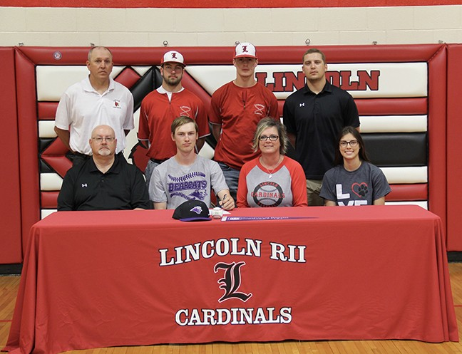 CORBIN REESE, LINCOLN STAR PITCHER, signed a letter of intent on Wednesday, May 9th,to attend SW. Baptist next fall. Pictured are (L-R)  front row- Brett Reese, Corbin Reese, Karen Reese, and Chloe Reese. Back row- head Baseball Coach Will Lynde, teammates Grant Eifert and Derek Stephens and Assistant Coach Johnny Eierman