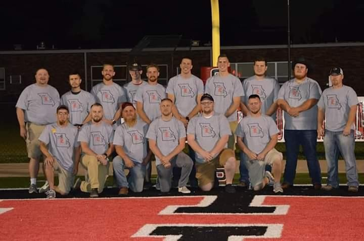 THE WAY IT BEGAN TEN YEARS AGO. The Lincoln football team assembled last Friday night in Lincoln at halftime of the Adrian game for their tenth anniversary. L to R Back Row – Coach Ty Payne, Cristian Arechiga, Garrett Dulaban, Brock Young, Brandon Mellen, Stuart Brethower, Bryson Waibel, Josh Jobe, Johnny Highland and Coach Jamie Henderson. L to R Front Row – Dustin Woods, Austin Ridgeway, John Michael Mehrens, Zach Reimund, Jacob Smith and Drake Young.