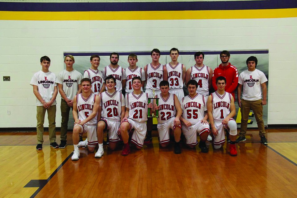 Lincoln defeated Smithton to win the Otterville tournament. Congratulations! Front row:  Parker Engles, Nate Hesse, Jackson Beaman, Tyler Betts, Chase Cogdill, Nathan Jobe Back row:  Devon Parrott, Levi Betts, Bo Kroenke, Grant Eifert, Evan Schwedler, Derek Stephens, Corbin Reese, Tyler Reinke, Caleb Smith and Cody Weter.