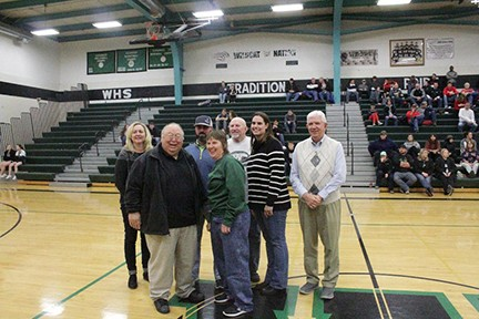 THEY WERE THE BEST OF THEIR TIMES. Seven Hall of Fame members were present on Friday night at  WHS for the WHS Basketball Reunion. They are from left to right on front row- Coach Bob Campbell (the newest member) and Jackie Downing. On back row are Christy Cox Bevel, Dwight Davis, Bobby Barnes and Ron Jenkins..