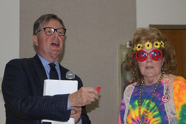 A 60's THEMED EVENING delighted a capacity crowd during Saturday's annual benefit dinner for the Benton County Historical Society in Warsaw. Randy Eaton served as Master of Ceremonies and many attendees wore retro garb, including the inimitable Rozella Holm.
