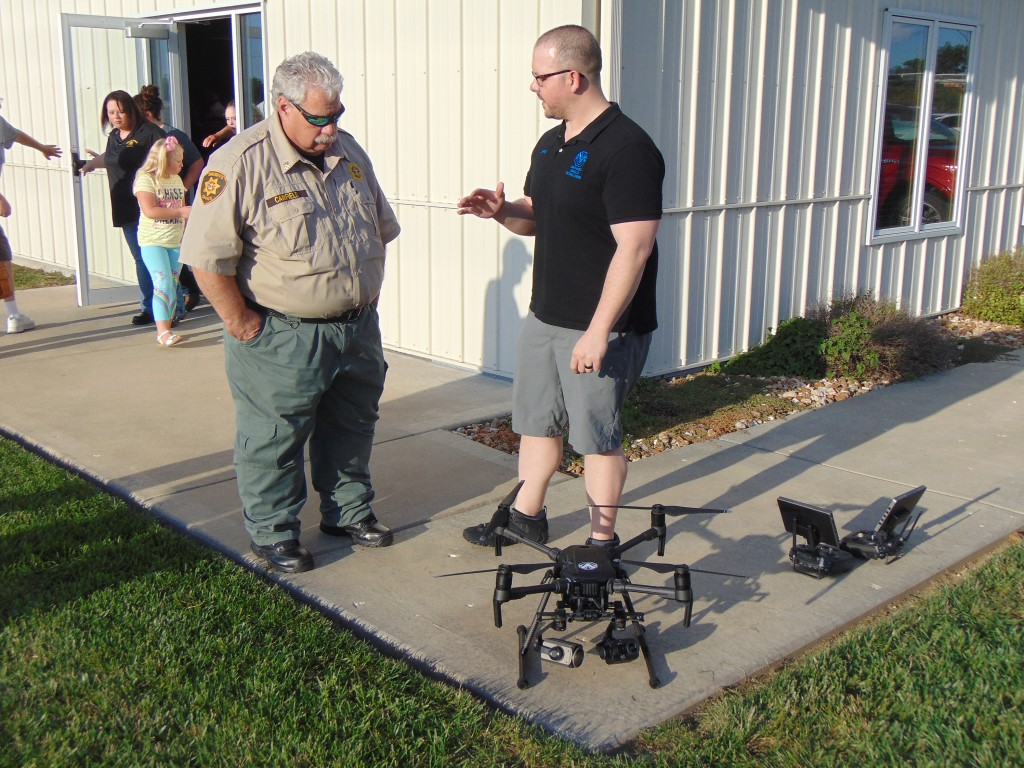 READY TO DEPLOY A NEW DRONE, Major Jeff Canfield and Chris Fink from Unmanned Vehicle Technologies  gave the public a demonstration on drone operations last Thursday in Warsaw.