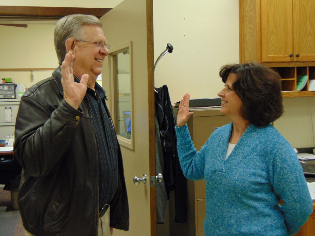 MAKING IT OFFICIAL, Glenn Nelson was sworn in by Benton County Clerk Susan Porterfield as Northside Commissioner after being appointed by Governor Mike Parson.