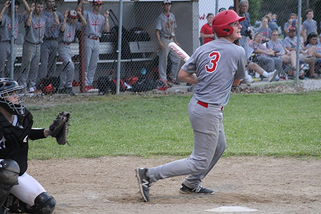 IN HIS LAST AT BAT IN HIS HIGH SCHOOL CAREER, Senior Derek Stephens would double to center field driving in two runs in the sixth inning. Lincoln would lose 11-4 to Skyline in the quarterfinals of state in Lincoln before the largest home crowd of the year.