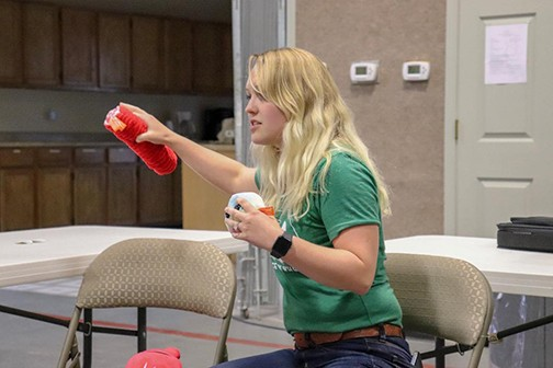 THE WORLD OF SCIENCE came to life on Thursday during a presentation given by three Ph.D candidates from the University of Missouri at the First Baptist Church in Lincoln. The program included a talk from Alexandra Diller Costello about stem cell research and blood vessel regeneration.
