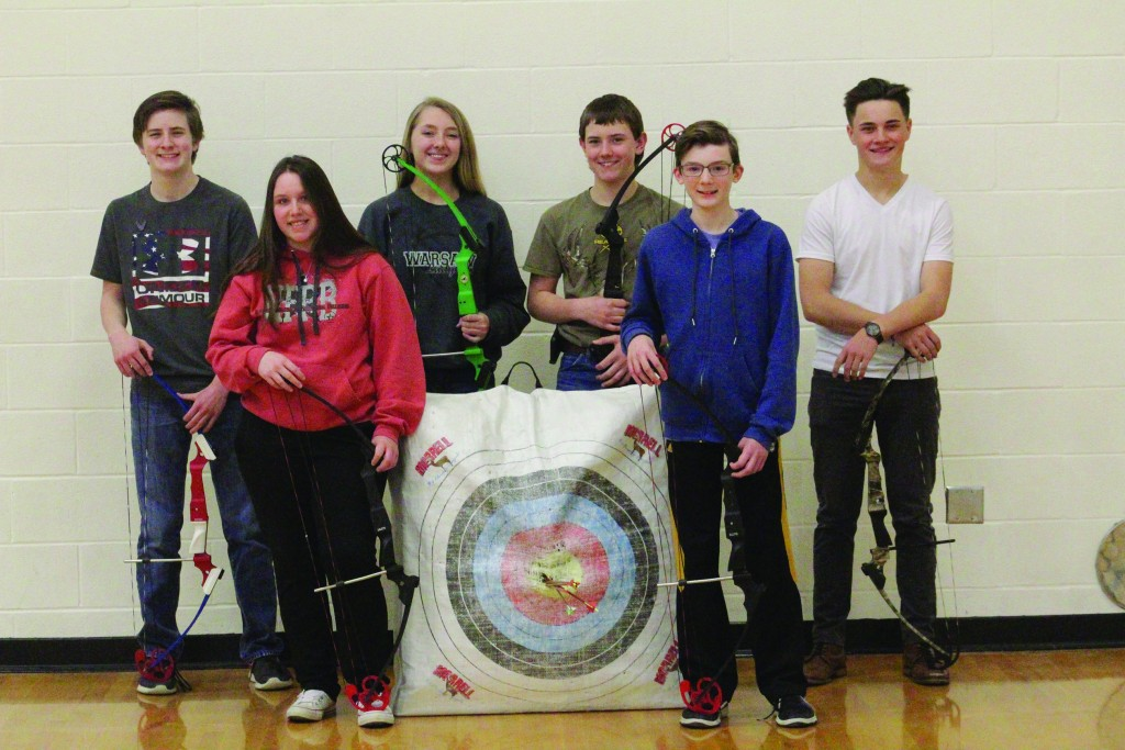 ROBIN HOOD couldn't be prouder. Warsaw's 2019 archery qualifiers are Sophomore Donna Pitts and eighth grader Logan Schockmann on front row. On back are eighth grader Hudson Karr, eighth grader Ashlyn Laue, eighth grader Trevor Downing and Sophomore Bradley Brown.