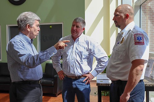 PUTTING THE SPOTLIGHT on the growing abuse of opioids, Senator Roy Blunt spoke on the subject at Harbor Village where he met with citizens and civic leaders including Commissioner Steve Daleske and Nathan Burton.