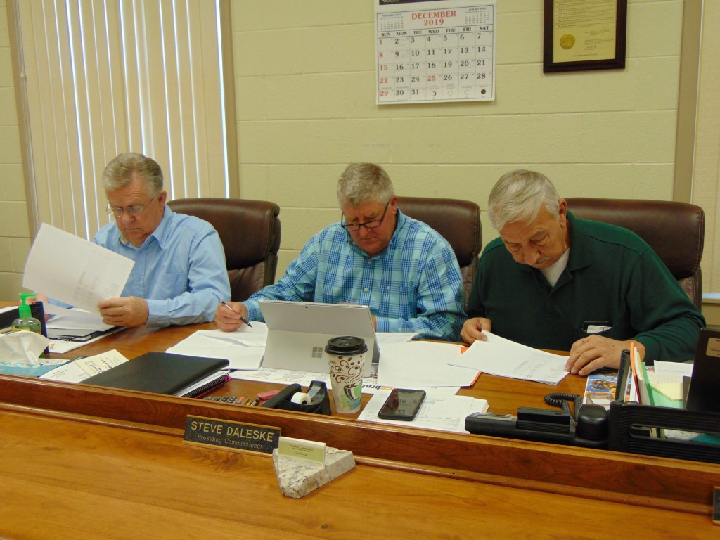 REVIEWING THE BUDGET FOR 2020, Benton County Commissioners Glen Nelson, Steve Daleske and David Malecki met at the Courthouse on Tuesday morning.
