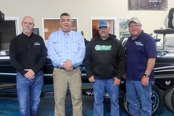 ANGLER'S PORT MARINE in Warsaw announced a landmark partnership with Crappie Masters to become at sponsor at its tournaments. Angler's Port Marketing Director Don Schlesselman, Angler's Port President Klaus Fink, Crappie Masters President Mike Valentine and Voice of Crappie Masters Brian Sowers recently met to mark the deal.