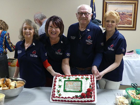 CELEBRATING 25 YEARS OF SERVICE, Benton County Elks Lodge 2783 members hosted an anniversary party on Saturday at the Lodge. Attendees included Paula Oprzedek, Sherry Blyth, Dennis Schoen and Jorrine Fenlon.