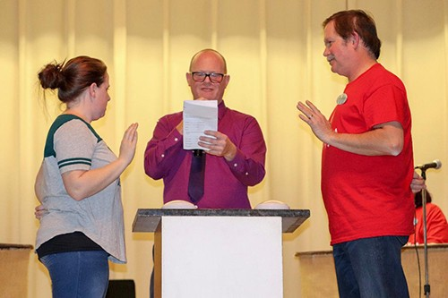 AND THE SURVEY SAYS the Family Feud was a big hit at the Warsaw Community Building on Saturday evening. Chamber Director Mac Vorce served as host with Teddy Gregg of Warsaw and Mike Riccitiello of Kansas City among participants.