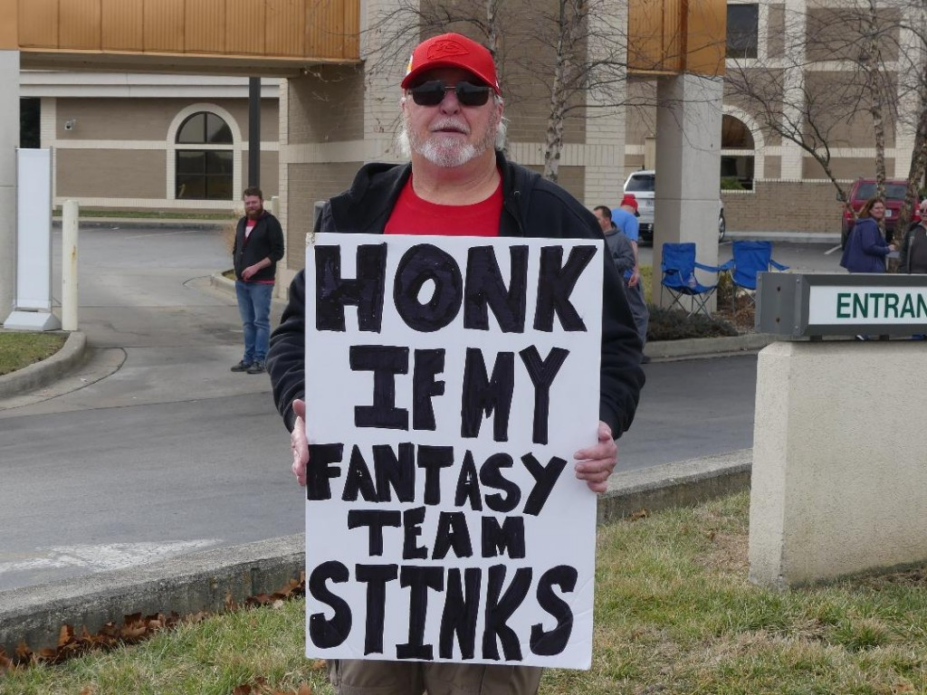 THE ULTIMATE LOSER in his Fantasy Football League, Steve Ward held a sign for two hours near Warsaw's McDonalds on Sunday as a symphony of car horns blared.
