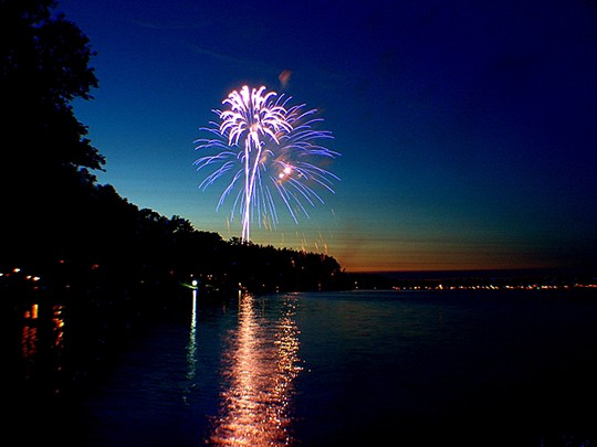 HAPPY BIRTHDAY AMERICA! Drake Harbor will set the stage for a magnificent pyrotechnic display this Saturday evening at dusk. The annual event has been moved from Truman Dam to the Harbor due to the lake's record high pool level The event is sponsored by the Warsaw Area Chamber Of Commerce. See story below for a list of other area celebrations.