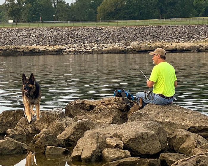 ANOTHER WAY to catch the famed catfish will be on the menu during an MDC sponsored class at Truman State Park on September 19. A treasured pastime in the Twin-Lakes area, Rick Gray fished below Truman Dam with his dog Tracer on Tuesday morning.