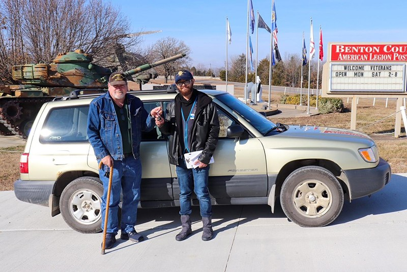 READY FOR THE ROAD, Chris Campbell presented WHS graduate and Veteran Bobbylee Chapman with the keys to a Subaru. The gift was facilitated by Warsaw's American Legion Post 217.