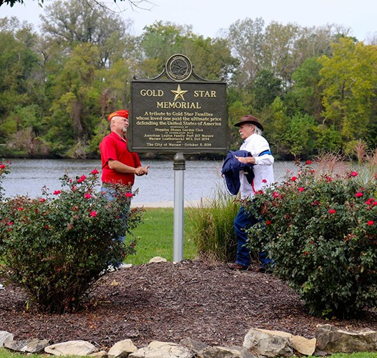 A POIGNANT CEREMONY took place at Drake Harbor on Saturday morning as a memorial marker was dedicated to Gold Star Families. Attendees included Eric Kirby and Dennis Konkus.