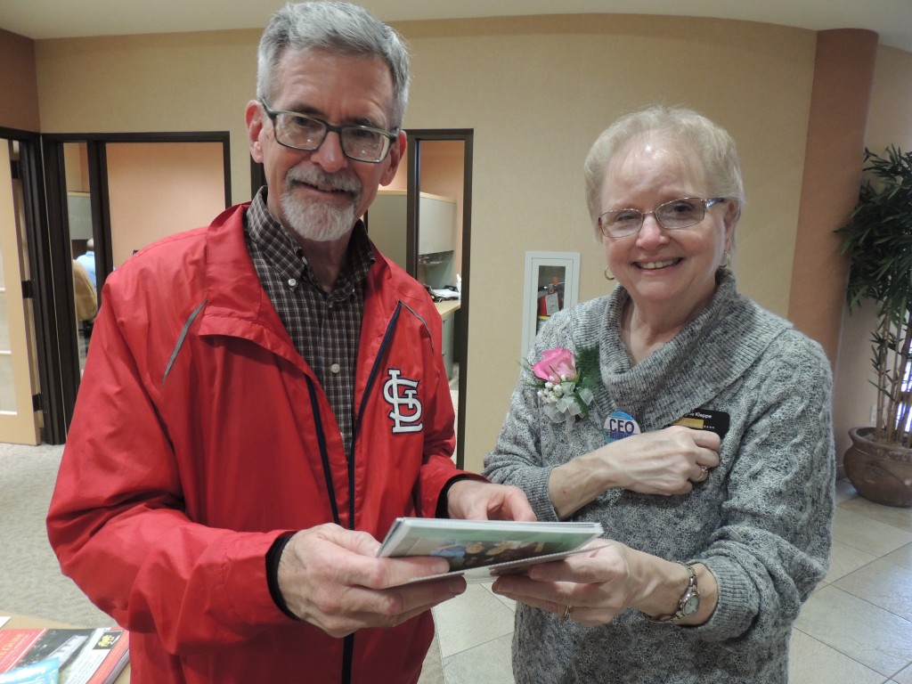 A RETIREMENT CELEBRATION was held last Friday for longtime Hawthorn Bank employee Sue Kleppe. Guests at the reception held at the Northtown facility included Morris Meseke.