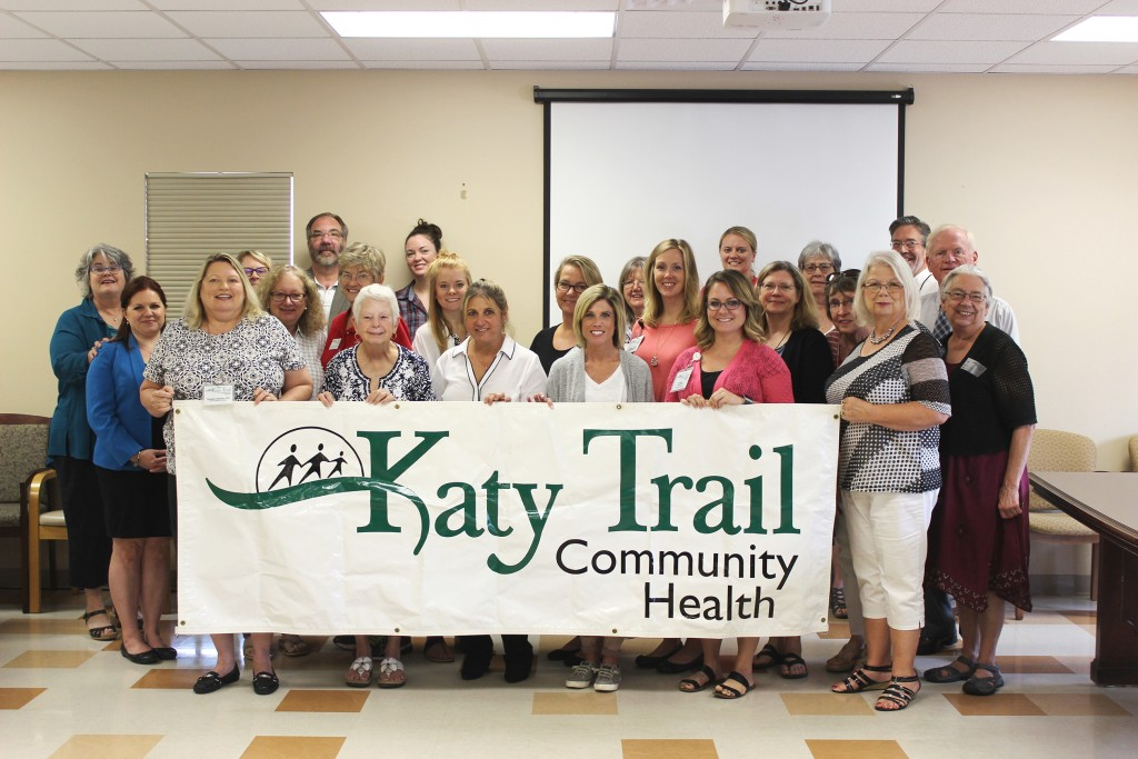 KATY TRAIL RECEIVES PERFECT SCORES. (Pictured from left to right) Chris Stewart, Machelle Dykstra, Dr. Teresa Gatton, Tracy Simmons, Pam Hirshberg, Steve Bevans, Mary Nell Strautman, Angela Saran, Abby McMullin, Morgan Lynch, Dr. Ivette Turner, Cindy Homan, Mendy Hohenfeldt, Sue Borgmeyer, Brianna Murray, Ashley O'Bannon, Dr. Bethany Vandevender, Rhonda Hutton Gann, Joanne Dwyer, Marie Payne-Bowman, Linda Messenger, Tim Montgomery, John Schalk, Sally Neville.