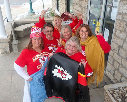 FIFTY YEARS IN THE MAKING, the Kansas City Chiefs are headed to the Super Bowl. Chiefs fans in a celebratory glow include City of Warsaw employees Kathy King, Sabrina Brown, Jill Cobb, Jenn Bradshaw, Jessica Kendall and Heidi Lee. They reported for work on Tuesday in full regalia.
