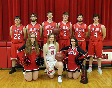 PICTURED on their home court  on Senior Night last Tuesday at Lincoln high school. They prepared for district play this week at  Cole Camp. Pictured are: Front row (cheerleader) Alexsis Perdue, (Basketball) Blayke Bays and (Cheerleader) Alexis Hyde. Back row: Tyler Betts, Caleb Smith, Corbin Reese, Derek Stephens, Grant Eifert and Tyler Reinke