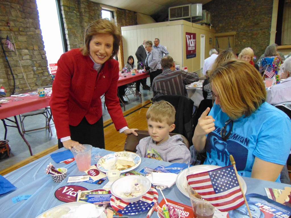 NATIONAL AND LOCAL POLITICAL leaders gathered at the Warsaw Community Building on Saturday for the Benton County Republican Dinner. Noteable guests included Congresswoman Vicky Hartzler who visited with Tristan and Victoria Fox.