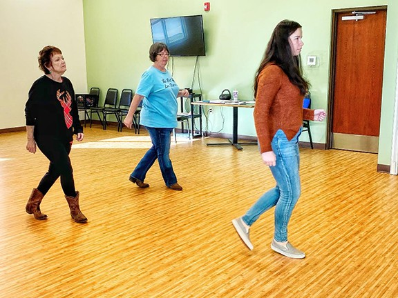 """A NEW YEAR IS FAST APPROACHING which can bring on the winter blues. Staying active is one of the best ways to """"snap out of it!."""" The twin-lakes area has a host of programs and events ahead including weekly line dancing at the Warsaw Senior Center.  Mondays class included Shirley Story, Cindy Story and Kamryn Yach."""