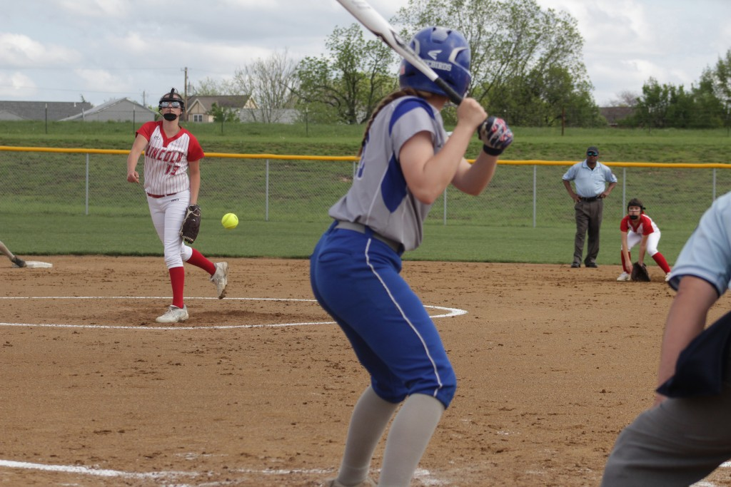 THIS IS WHAT A BATTER SEES WHEN THEY FACE ALEAH PAXTON of Lincoln. The senior led her team to a third district 14 championship in Cole Camp on Wednesday night. They defeated Skyline 6-1 in the championship game and beat Cole Camp 12-2 earlier in the afternoon in the semi-final match up.