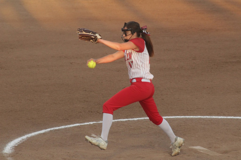 SENIOR ALEAH PAXTON PITCHES DURING state championship game against Kennett in Springfield two weeks ago. The Lady Cardinals won 8-3 and took home the state trophy. Paxton was named to the first team among the best pitchers in the state. Junior Haley Mackey was named to the second team as the Designated Player.
