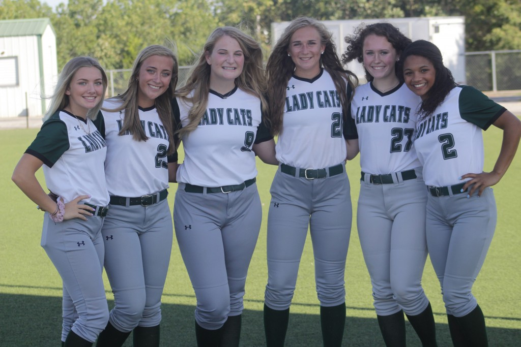 THE SIX FRESHMEN ARE NOW THE SIX SENIORS. Rayni Simons, Kiersten Grobe, Reagan Shelby, Aubrie McRoberts, Payge Adair and Kya Schepker prepare for their final season. They were 23-4 last season and have their eyes on the final four.