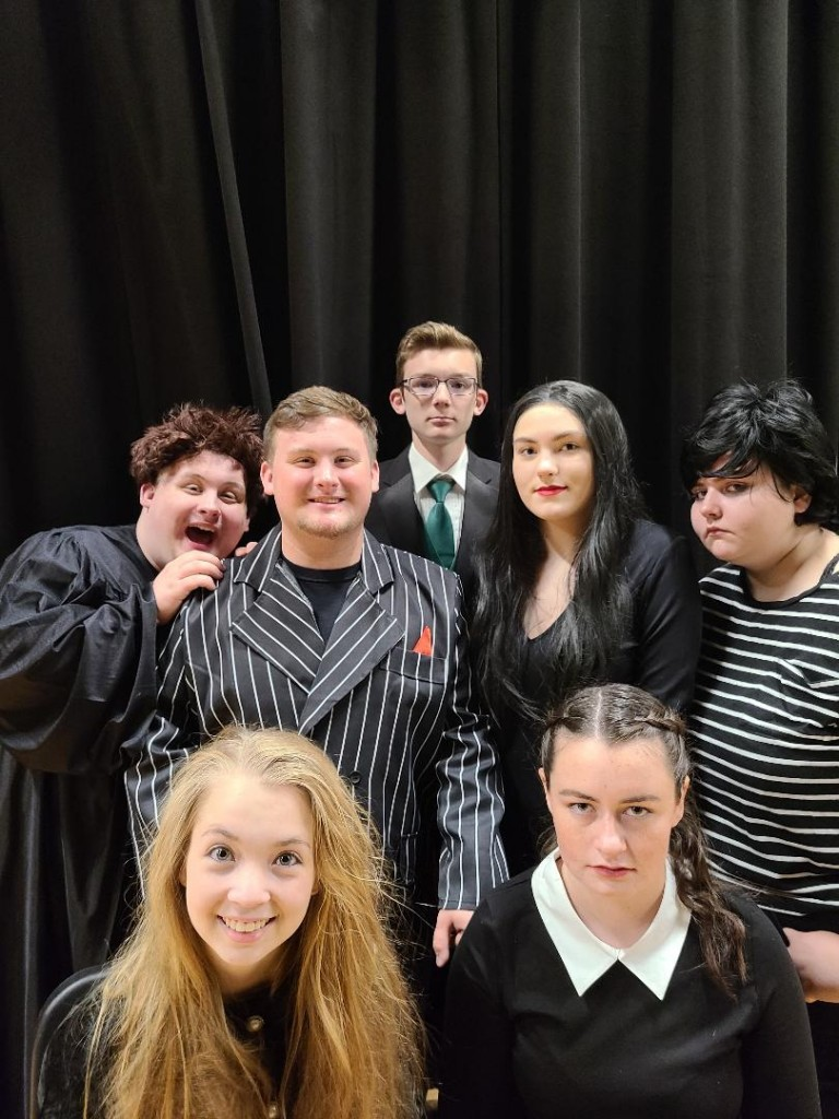 THE CURTAIN will rise on The Addams Family this Friday at Warsaw High School. Cast members include: Front row - Kyleigh Hines & Gabrielle Porter Second Row: Grady Miller, Lauren Kreisel, Sabrina Uptgraft Third Row: Grant Miller, Logan Schockmann