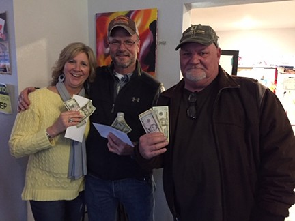 TAKING THE TOP SPOTS in Saturday's Pubs and Poker were third place Annette Vogel, second place Mark Howell, and first place Darryl Fisher. Held in Warsaw, the event was hosted by Benton County Tourism and Recreation.