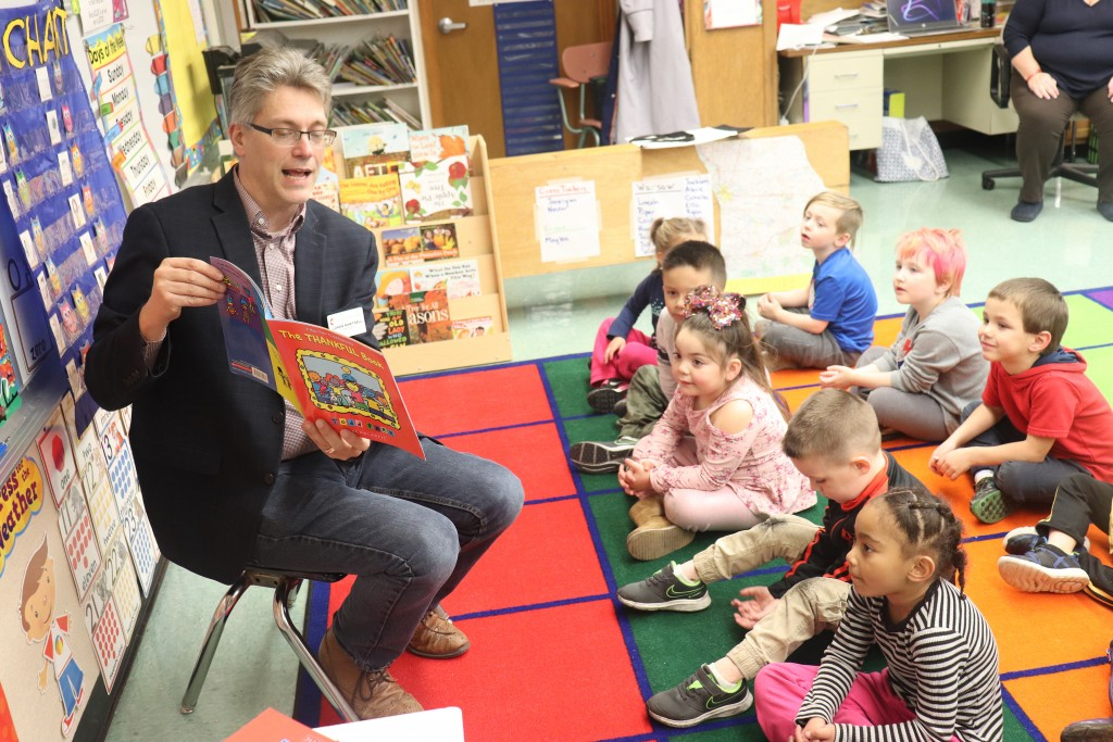 BUILDING A LOVE FOR BOOKS, Pastor Loren Whetsell read to R-IX South pre-school kids as part of a reading program.