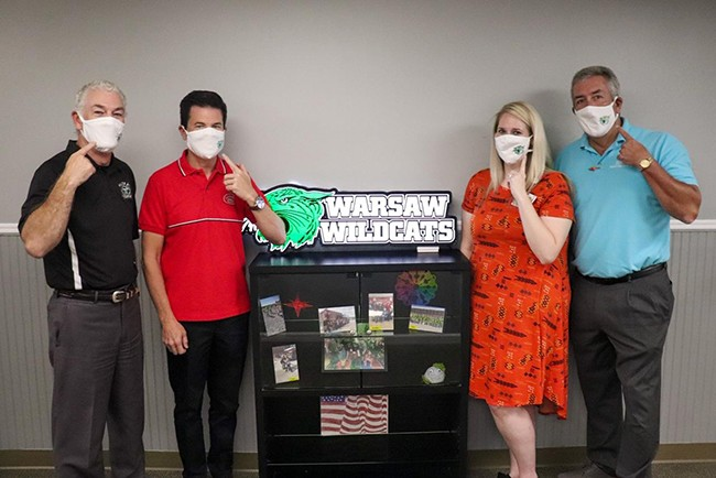 HELPING SCHOOLS MASK UP, the Bothwell Foundation is providing masks for Warsaw, Lincoln and Cole Camp districts. R-IX Superintendent Dr. Shawn Poyser was presented with masks from Bothwell Foundation Vice-President James White, Foundation Director Lauren Thiel-Payne and Foundation President Stafford Swearingen.