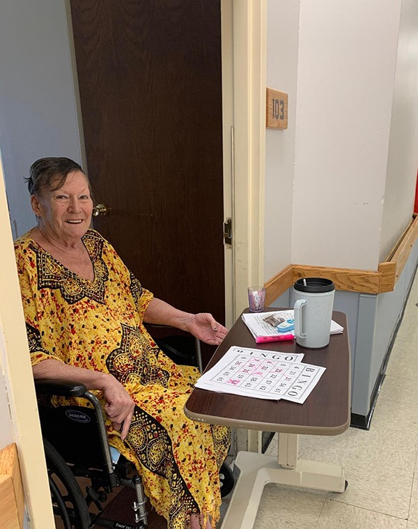 MAKING THE MOST OF IT, Jackie Palmer played remote bingo at Warsaw Health & Rehabilitation Center in Warsaw. To protect residents from the coronavirus, visitors are not currently being allowed.