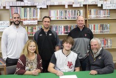 WARSAW SENIOR CASH MILLER SIGNED a litter of intent to attend North Central Missouri College on Wednesday morning at  WHS. Pictured  on front row along with Miller are his parents, Kim and Mark Miller.On back row are WHS athletic Director Ryan Boyer, Warsaw new Head Baseball Coach Micky Wheeler and Trenton Head Baseball Coach Donnie Hillerman.